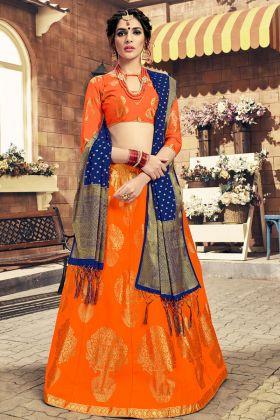 Orange Color Banarasi Silk Wedding Lehenga