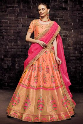 Orange Color Brocade Wedding Lehenga Choli