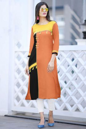 Orange Color Cotton Kurti With Buttons Work