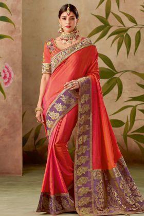 Orange Color Dual Tone Silk Traditional Saree