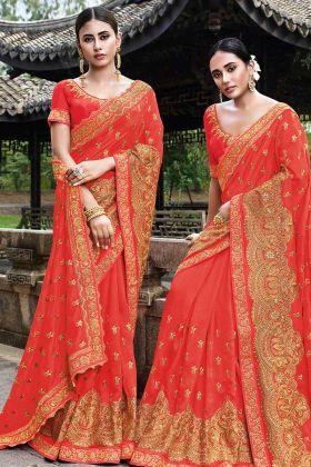 Orange Color Embroidered Work Art Silk Traditional Saree