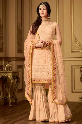 Orange Color Embroidery Net Sharara Dress