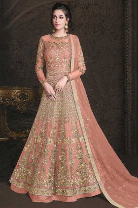 Orange Color Embroidery Work  Net Anarkali Dress