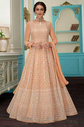 Orange Color Faux Georgette Anarkali Salwar Suit With Nazneen Dupatta