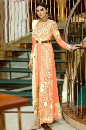 Orange Color Faux Georgette Pakistani Suit With Heavy Embroidery Work