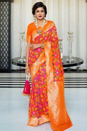 Orange Color Handloom Silk Festival Saree With Self Weaving Work