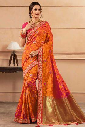 Orange Color Heavy Banarasi Silk Saree Thread Zari Work