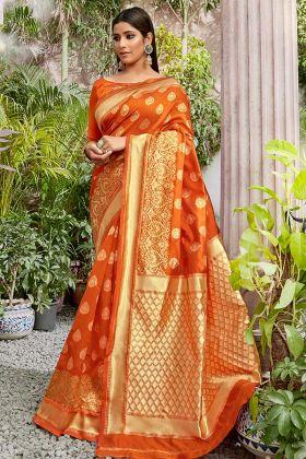 Orange Color Jacqaurd Silk Saree Collection