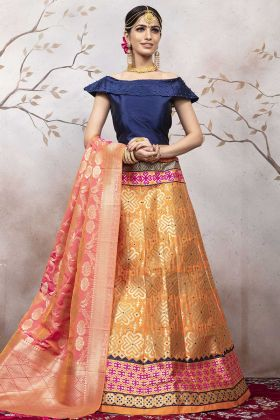 Orange Color Jacqaurd Silk Wedding Lehenga Choli For Girls