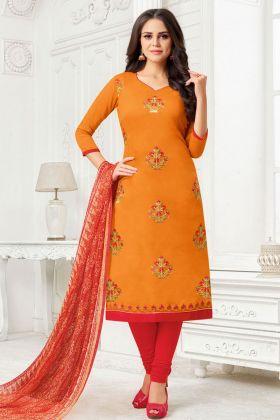 Orange Color Modal Silk Salwar Suit