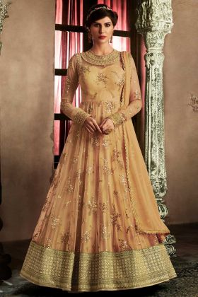 Orange Color Nakakashi Net Anarkali Dress