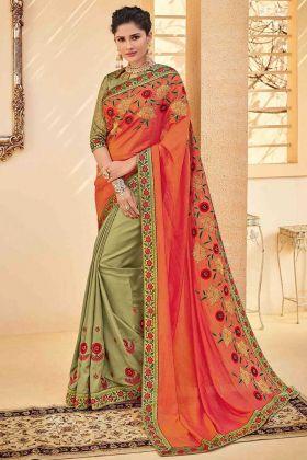 Orange Color Poly Silk Half and Half Wedding Saree With Embroidery Work