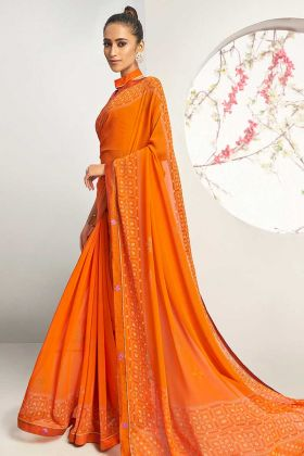 Orange Color Print Design Georgette Saree