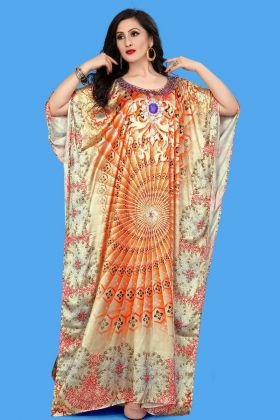 Orange Color Satin Kaftan Long Pakistani Kurti
