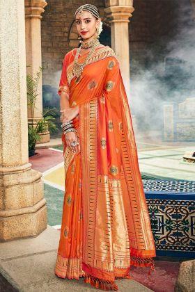 Orange Color Silk Designer Saree With Jacquard Work