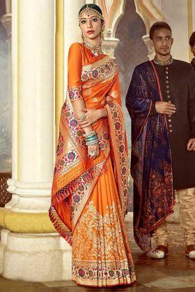 Orange Color Silk Saree With Weaving Work