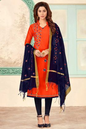 Orange Color Slub Cotton Straight Suit In Embroidered Work