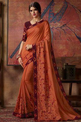 Orange Color Thread Silk Embroidery Work Vichitra Silk Festival Saree