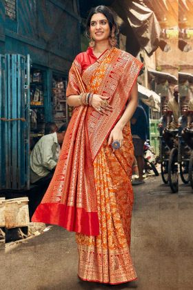 Orange Color Weaving Work Art Silk Wedding Saree