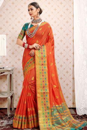 Orange Cotton Silk Wedding Saree