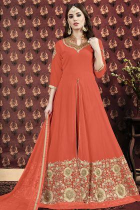 Orange Georgette Anarkali Salwar Kameez