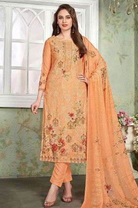 Orange Heavy Muslin Pant Style Salwar Kameez