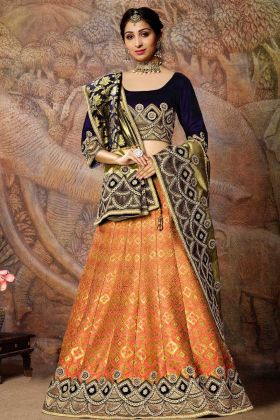 Orange Jacquard Weaved Silk Designer Lehenga