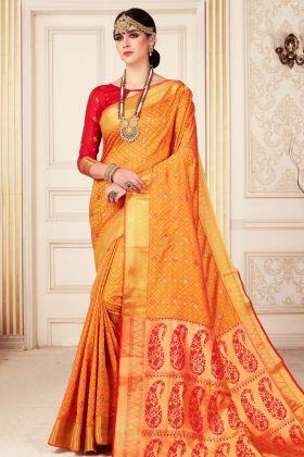 Orange Kanjivaram Silk Festive Saree