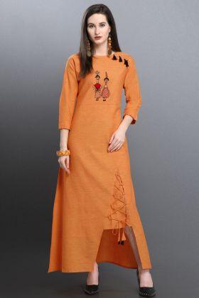 Orange Khadi Cotton Fancy Kurti