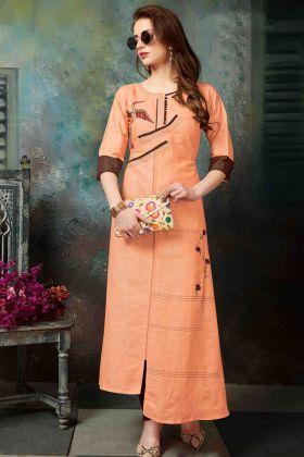 Orange Khadi Cotton Kurti