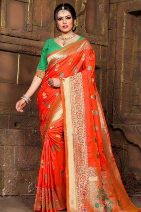 Orange Lichi Silk Beautiful Saree
