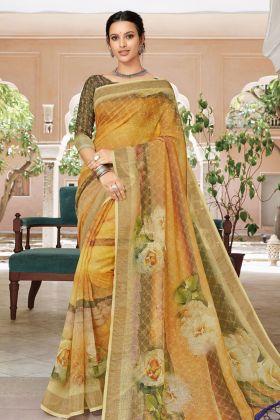 Orange Linen Digital Printed Saree