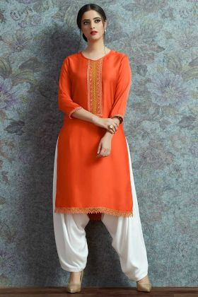 Orange Modal Satin Casual Wear Kurti Pair With Patiala Salwar