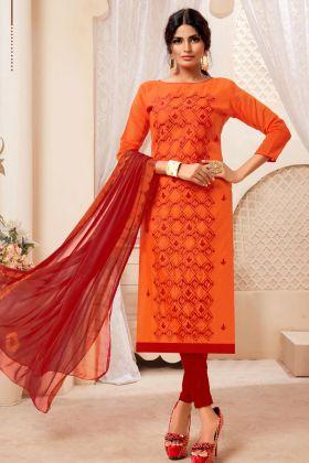 Orange Modal Silk Chudidar Suit