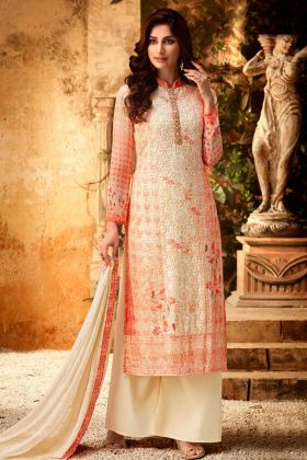 Orange Pure Viscose Bemberg Georgette Designer Party Wear Palazzo Salwar Suit