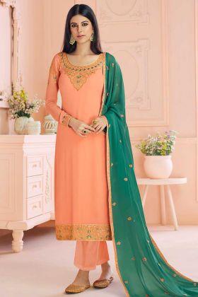 Orange Real Georgette Straight Cut Salwar Suit