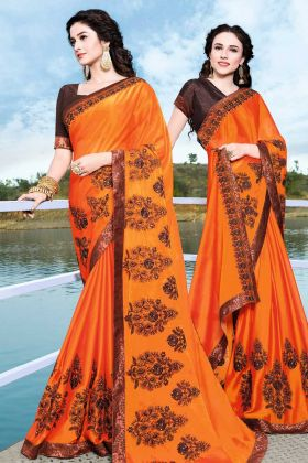 Orange Satin Chiffon Wedding Saree