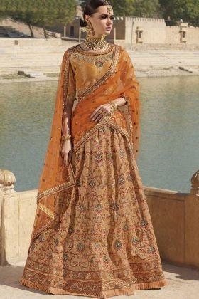 Orange Silk Wedding Lehenga Choli