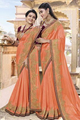 Orange Soft Silk Wedding Saree