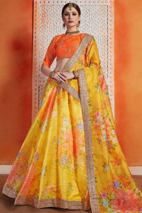 Organza Designer Lehenga Choli Jari Embroidery In Yellow Color
