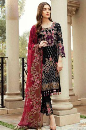 Pakistani Dress Style With Faux Georgette Black Color