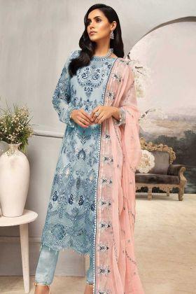 Pakistani Style Blue Color Latest Net Salwar Suit