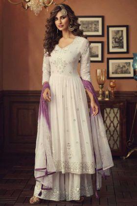 Pakistani Style Off White Color Foux Georgette Plazzo Suit