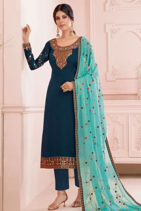 Pakistani Style Pant Suit With Teal Blue Color Satin Georgette