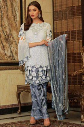 Pakistani Suit Design White Color Faux Georgette