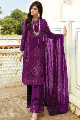 Pakistani Wear Violet Color Georgette Designer Salwar Suit