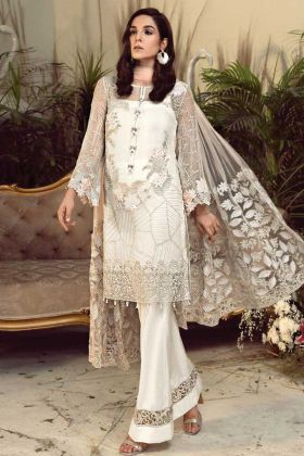 Pakistani White Georgette Salwar Suit For Special Look