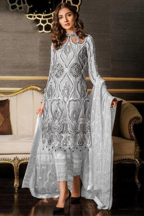 Pakistani Dresses Grey Color With Heavy Net Fabric