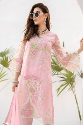 Pakistani Pant Style Suit In Georgette Fabric Pink Color