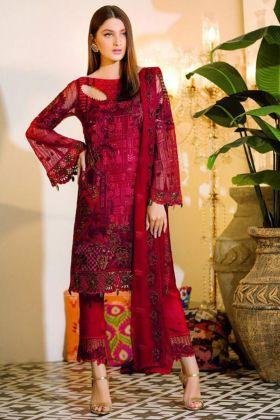 Pakistani Pant Style Suit Red Color With Chiffon Fabric